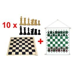 Pack Oferta de 10 juegos ajedrez nacionales y mural magnético