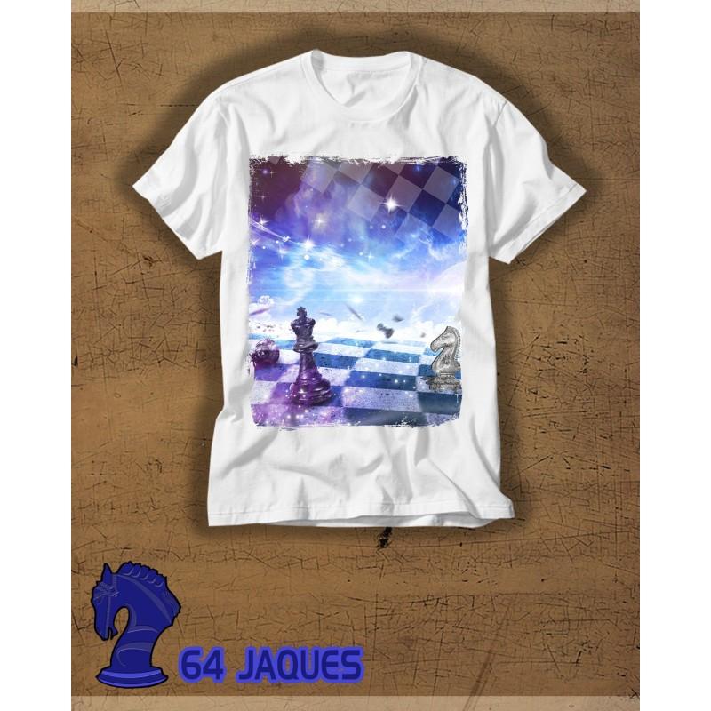 Camiseta Ajedrez Fondo Azul Estrellado