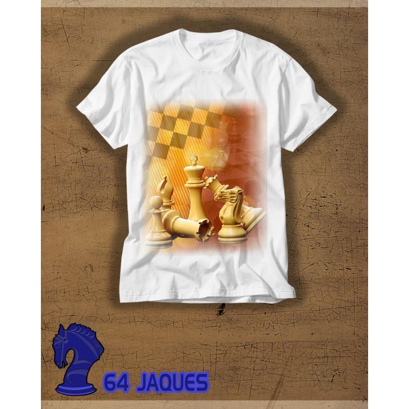 Camiseta Ajedrez composicion piezas difuminado